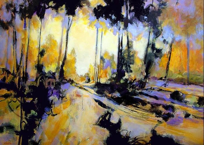 Landscape Greeting Card featuring the painting Golden Forest Sketch by Dale Witherow