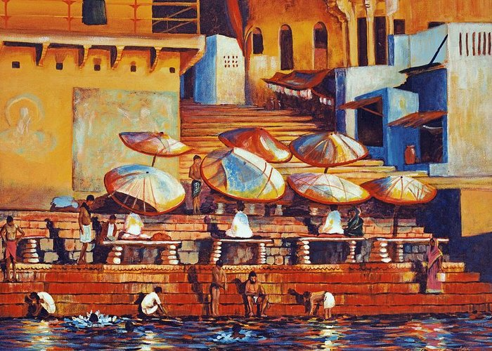 Realist Greeting Card featuring the painting Golden Ganges by Art Nomad Sandra Hansen