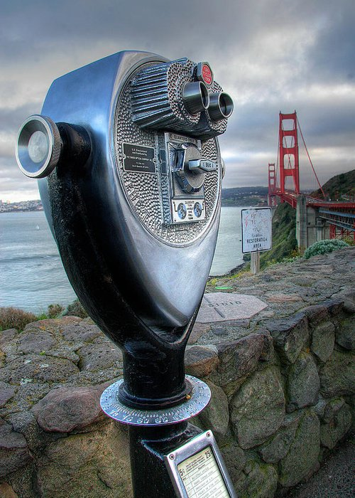 California Greeting Card featuring the photograph Golden Gate Binoculars by Peter Tellone