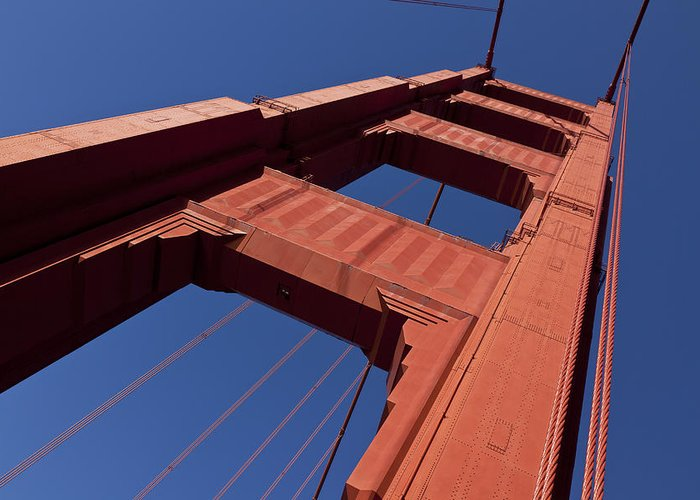 Golden Gate Bridge Tower Blue Sky Greeting Card featuring the photograph Golden Gate Bridge At An Angle by Garry Gay
