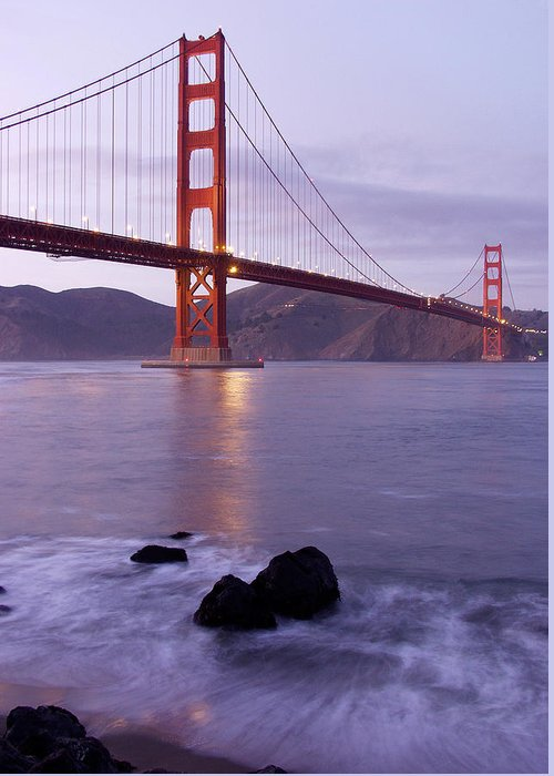 Golden Gate Greeting Card featuring the photograph Golden Gate Bridge At Dusk by Mathew Lodge