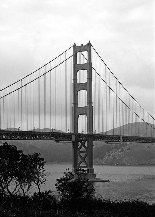 Golden Gate Bridge Black And White Photography By Linda Woods Greeting Card