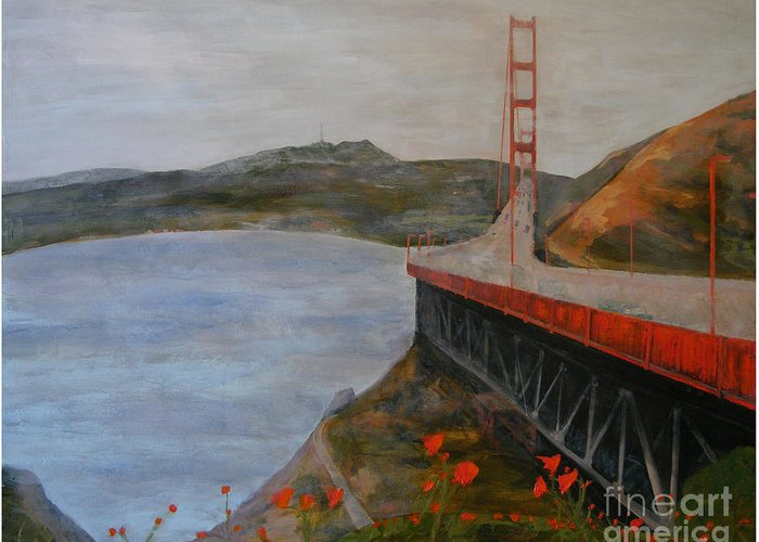 Golden Gate Bridge Greeting Card featuring the painting Golden Gate Bridge by Ellen Beauregard