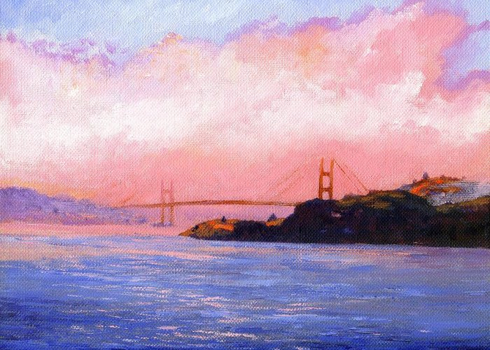 Landscape Greeting Card featuring the painting Golden Gate Bridge by Frank Wilson