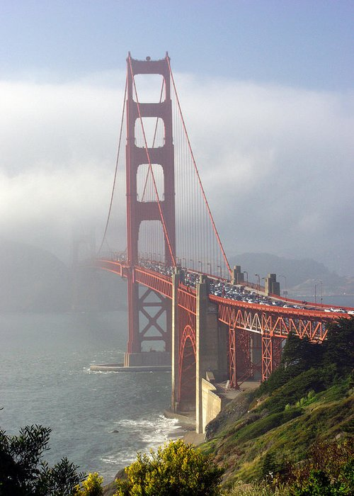 Golden Gate Greeting Card featuring the photograph Golden Gate Bridge In The Fog by Mathew Lodge