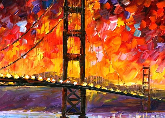 City Greeting Card featuring the painting Golden Gate Bridge by Leonid Afremov