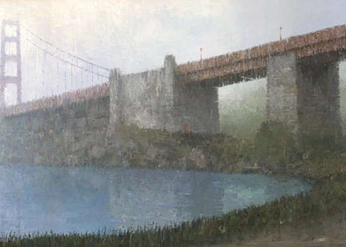 Painting Greeting Card featuring the painting Golden Gate Bridge by Steve Mitchell