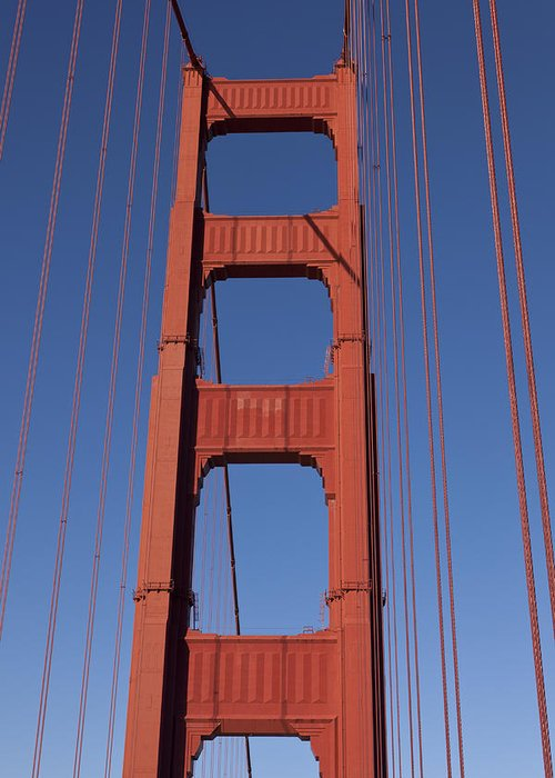 Golden Gate Bridge Tower Blue Sky Greeting Card featuring the photograph Golden Gate Bridge Tower by Garry Gay
