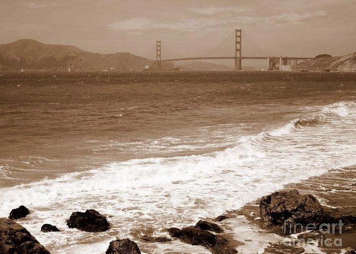 Golden Gate Bridge Greeting Card featuring the photograph Golden Gate Bridge With Shore - Sepia by Carol Groenen