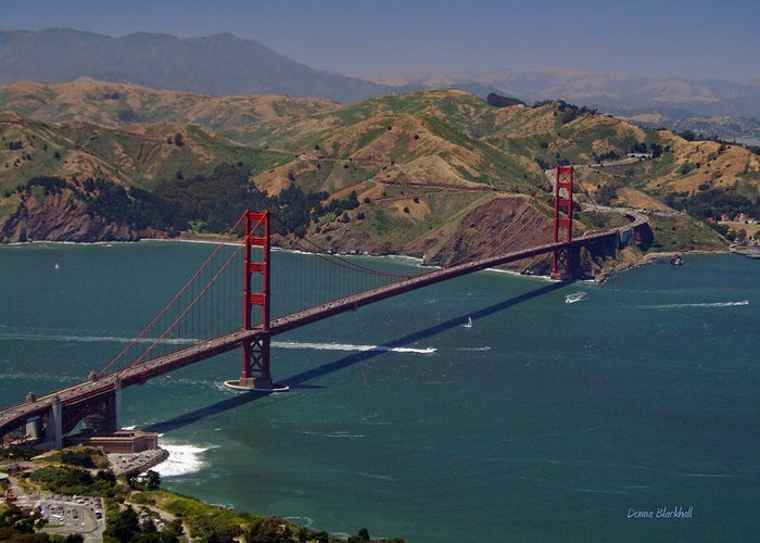 Golden Gate Bridge Greeting Card featuring the photograph Golden Gate by Donna Blackhall
