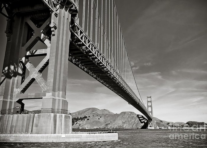 Black And White Greeting Card featuring the photograph Golden Gate From The Water - Bw by Darcy Michaelchuk