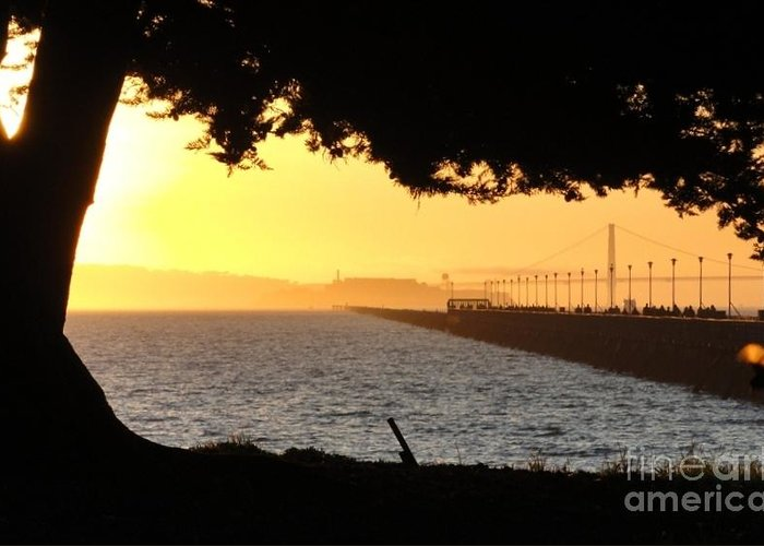 .sunset Greeting Card featuring the photograph Golden Gate by Juan Romagosa