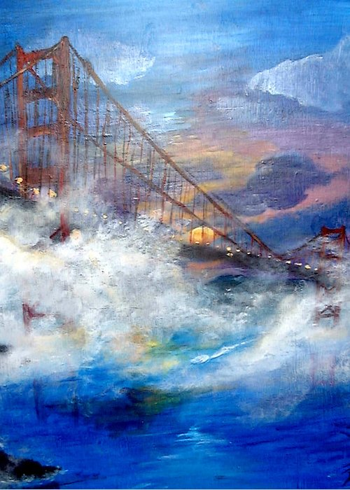 Golden Gate Greeting Card featuring the painting Golden Gate Sunset by Travis Day