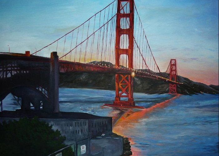 San Francisco Greeting Card featuring the painting Golden Gate by Travis Day