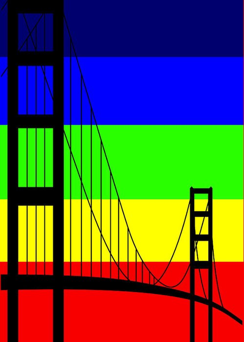 Golden Gate Greeting Card featuring the digital art Golden Gay by Asbjorn Lonvig