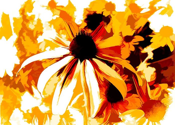 Black-eye-susan Greeting Card featuring the mixed media Golden Glow Of Summer by Debra Lynch