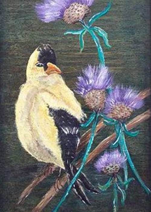 Bird Greeting Card featuring the painting Golden Goldfinch by Mikki Alhart