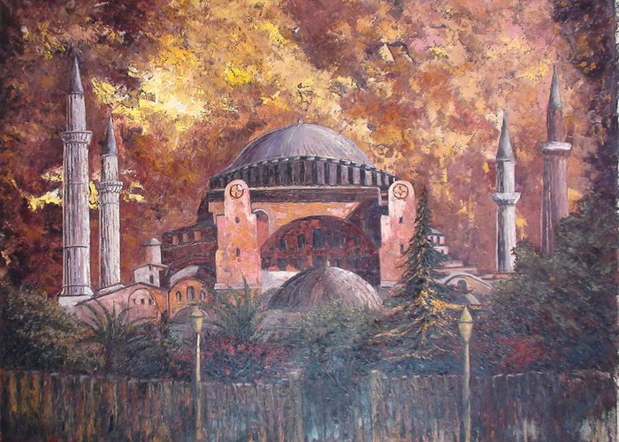 Landscape Greeting Card featuring the painting Golden Hagia Sofia by Charalampos Laskaris
