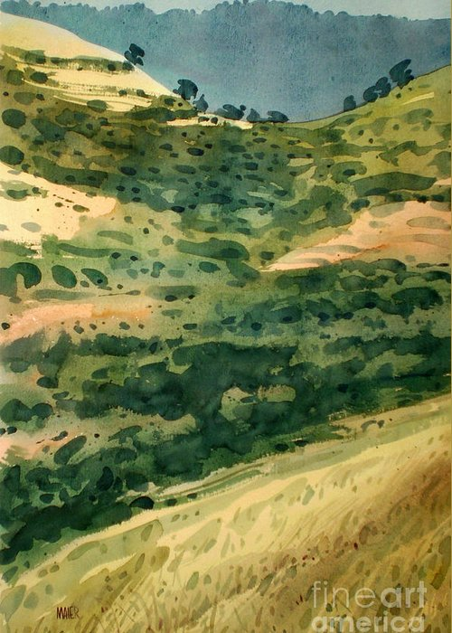 California Greeting Card featuring the painting Golden Hills by Donald Maier