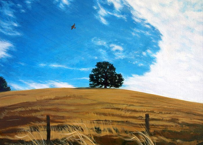 Golden Hills Greeting Card featuring the painting Golden Hills Summer Sky by Jill Iversen
