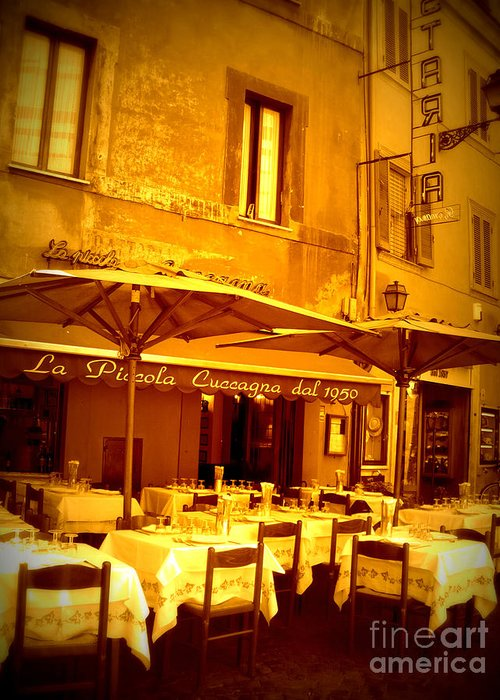 Italy Greeting Card featuring the photograph Golden Italian Cafe by Carol Groenen