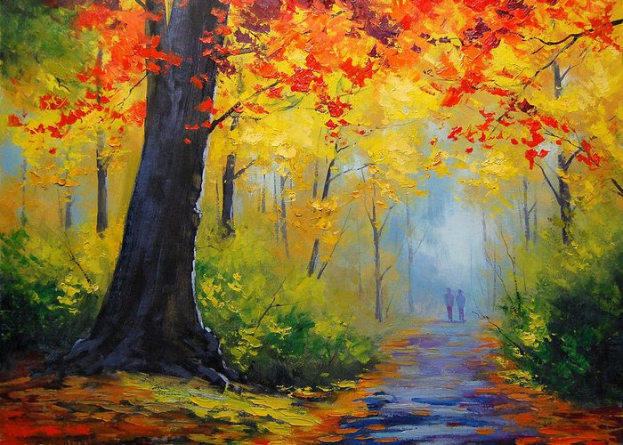 Fall Greeting Card featuring the painting Golden Landscape by Graham Gercken