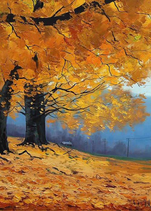 Fall Greeting Card featuring the painting Golden Leaves by Graham Gercken