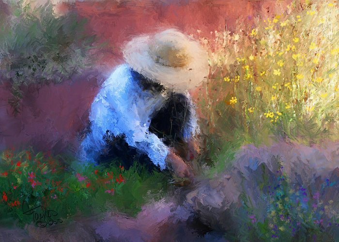 Sun Hat Mixed Media Greeting Cards
