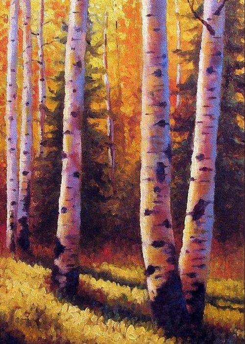 Light Greeting Card featuring the painting Golden Light by David G Paul