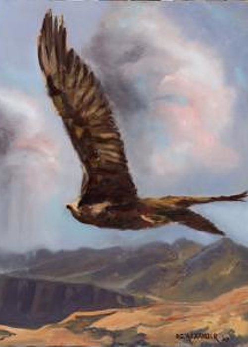Award Winning Painting Of Golden Eagle In Flight Over Utah Canyon Greeting Card featuring the painting Golden Moment -- by Bryan Alexander