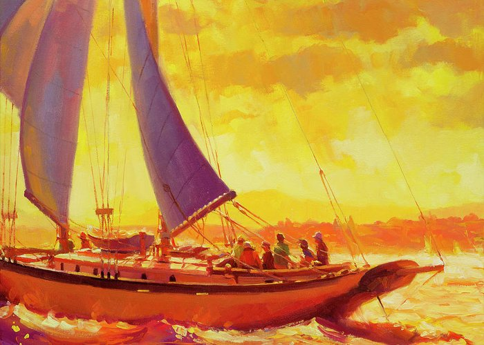 Sailboat Sunset Greeting Cards