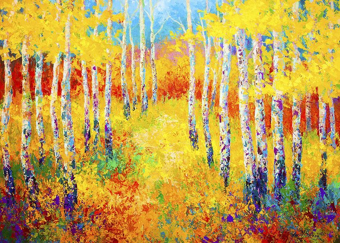 Trees Greeting Card featuring the painting Golden Path by Marion Rose