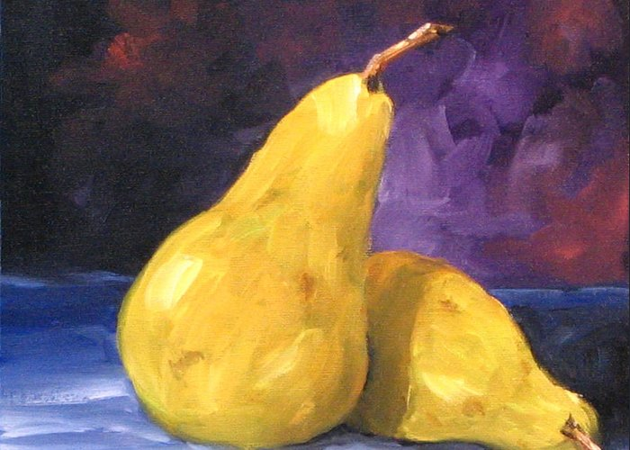Art Greeting Card featuring the painting Golden Pears by Richard T Pranke