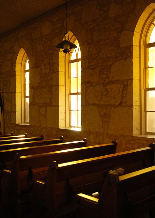 Worship Greeting Card featuring the photograph Golden Pews by Jill Reger