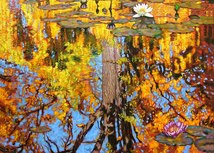 Landscape Greeting Card featuring the painting Golden Reflections on Lily Pond by John Lautermilch