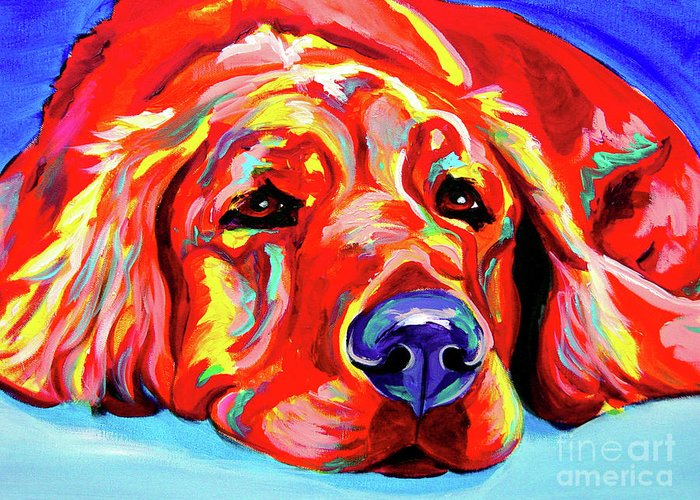 Dog Greeting Card featuring the painting Golden Retriever - Ranger by Alicia VanNoy Call