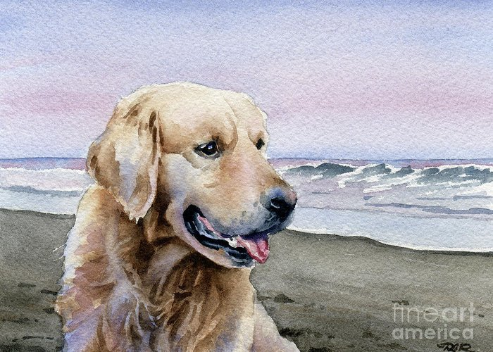 Golden Greeting Card featuring the painting Golden Retriever At The Beach by David Rogers