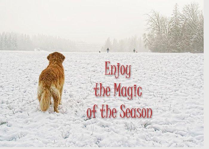 Golden Retriever Greeting Card featuring the photograph Golden Retriever Dog Magic Of The Season by Jennie Marie Schell