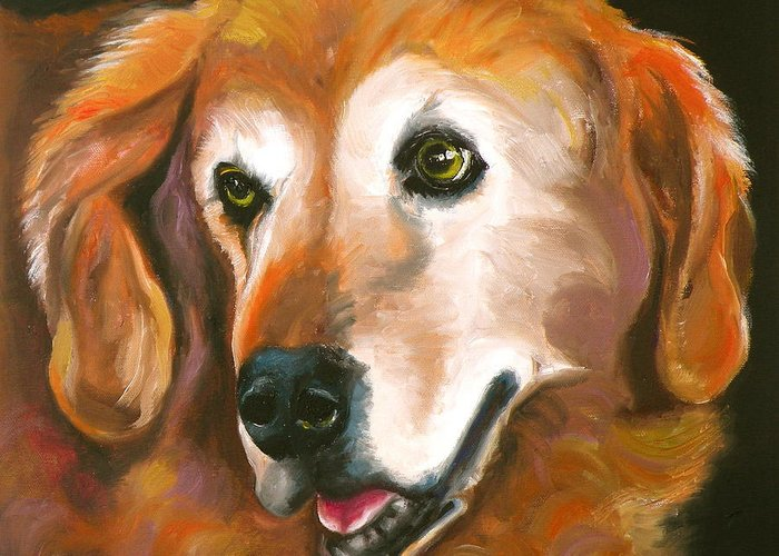 Dogs Greeting Card featuring the painting Golden Retriever Fur Child by Susan A Becker