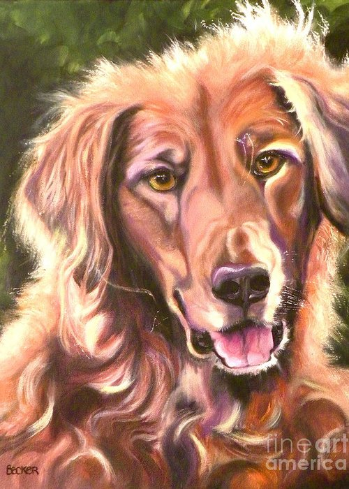 Dogs Greeting Card featuring the painting Golden Retriever More Than You Know by Susan A Becker