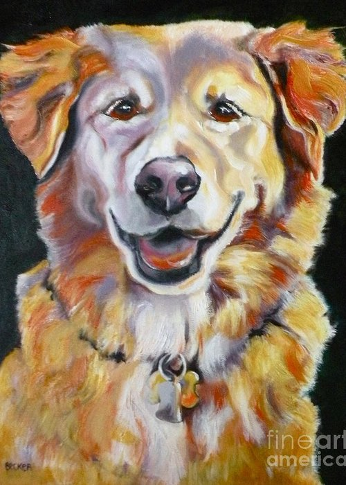 Dogs Greeting Card featuring the painting Golden Retriever Most Huggable by Susan A Becker