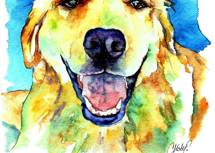 Golden Retriever Greeting Card featuring the painting Golden Retriever Portrait by Christy Freeman