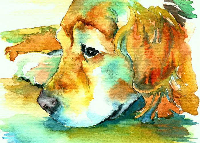 Golden Retriever Greeting Card featuring the painting Golden Retriever Profile by Christy Freeman Stark