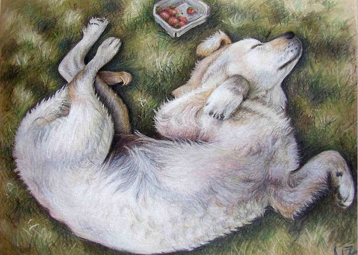 Dog Greeting Card featuring the pastel Golden Retriever Puppy by Nicole Zeug