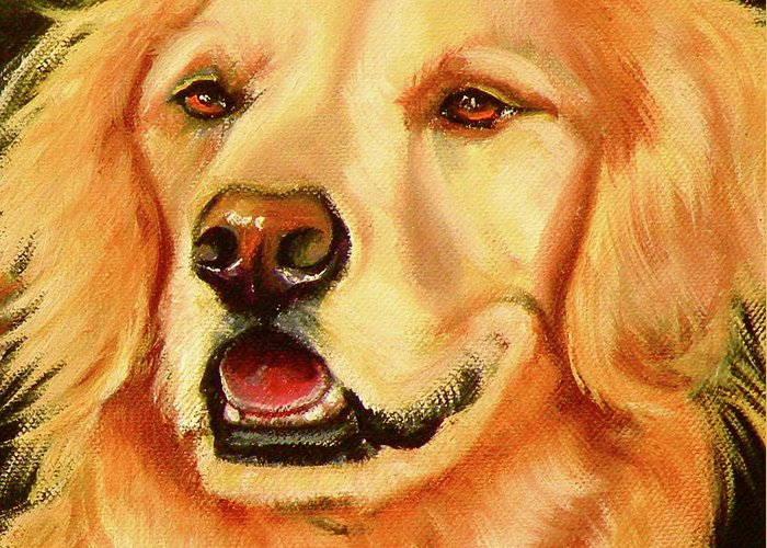 Oil Greeting Card featuring the painting Golden Retriever Sweet As Sugar by Susan A Becker
