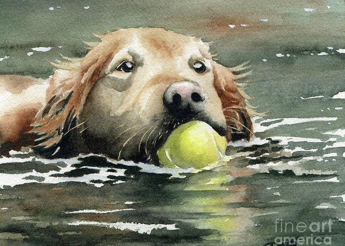 Golden Greeting Card featuring the painting Golden Retriever Swimming by David Rogers