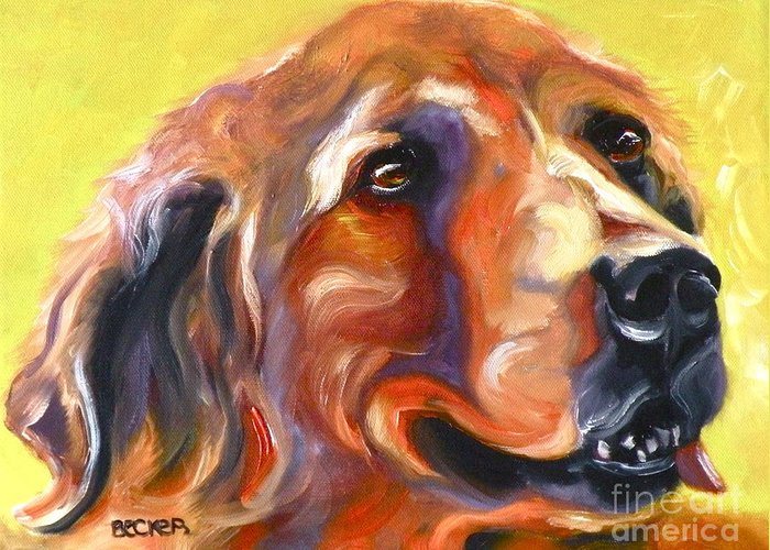 Oil Greeting Card featuring the painting Golden Retriever The Shadow Of Your Smile by Susan A Becker