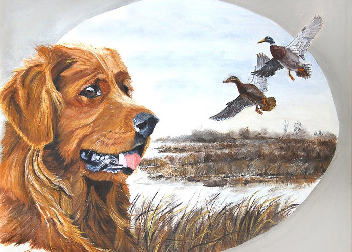 Dog Greeting Card featuring the painting Golden Retriever With Marsh Scene by Johanna Lerwick