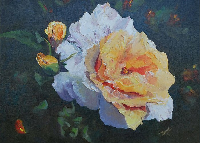 Floral Greeting Card featuring the painting Golden Rose 2 by Marcy Silverstein