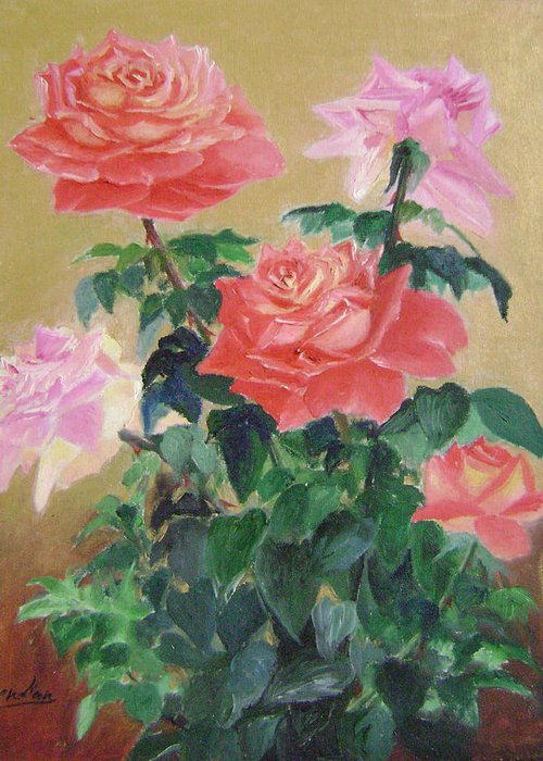 Floral Greeting Card featuring the painting Golden Roses by Lian Zhen